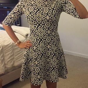 Zara Navy Blue and Ivory dress, size Small